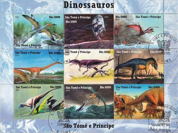 Známky Svatý Tomáš 2004 Dinosaury, razítkovaný hárček