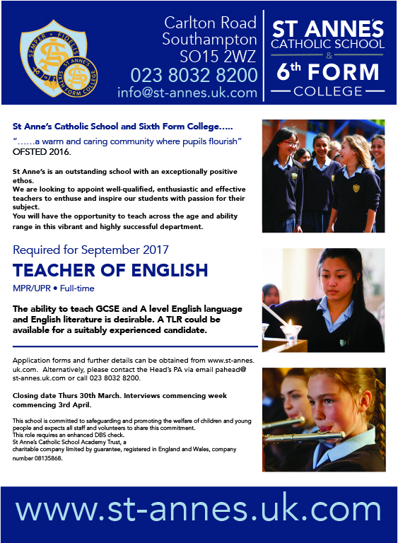 Job Advert Teacher of English