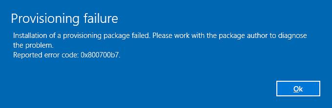 provisioning error