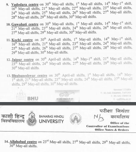 BHU UET 2017 List of Cancelled Test Centres