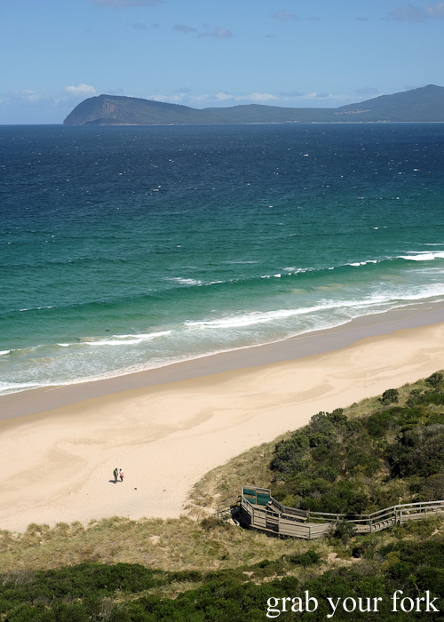 The Neck beach and the Neck Game Reserve on Bruny Island in Tasmania