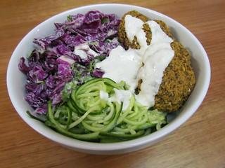 Cooling Cucumber Noodle & Baked Falafel with Tzatziki