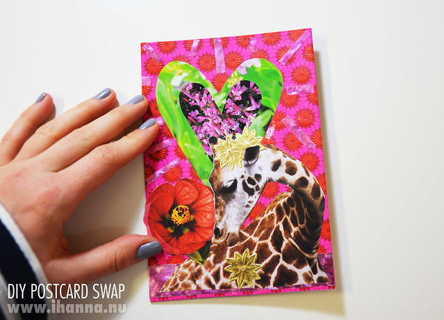 The Happy Mail Giraffe, postcard collage by iHanna #diypostcardswap