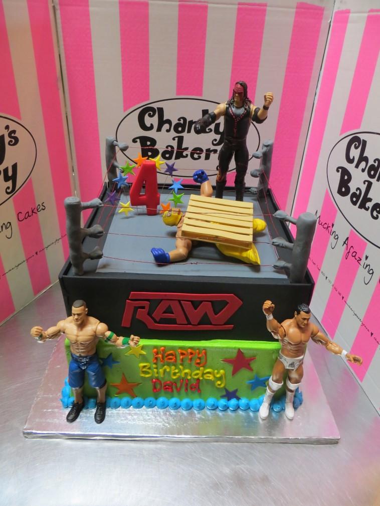 Wwe Raw Wrestling Themed Birthday Cake With Plastic Toy Fi Flickr