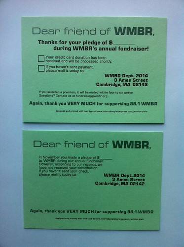 WMBR Fun Draiser postcards | by interrobang letterpress
