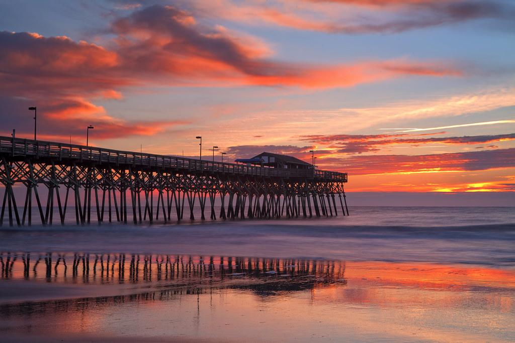 sunrise at surfside pier myrtle beach south carolina flickr