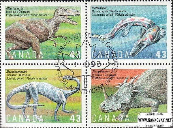 Známky Kanada 1993 Praveké zvieratá, razítkovaný hárček