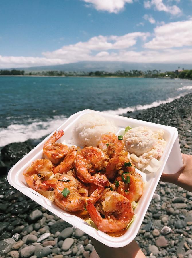 gestes shrimp truck lunch maui hawaii