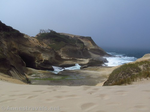First view into the cove at Cape Kiwanda, Oregon