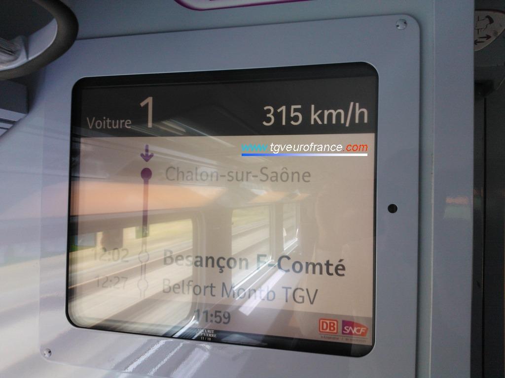 Le TGV Marseille - Francfort DB SNCF 9582 filant à grande vitesse en direction de la gare de Besançon Franche-Comté TGV