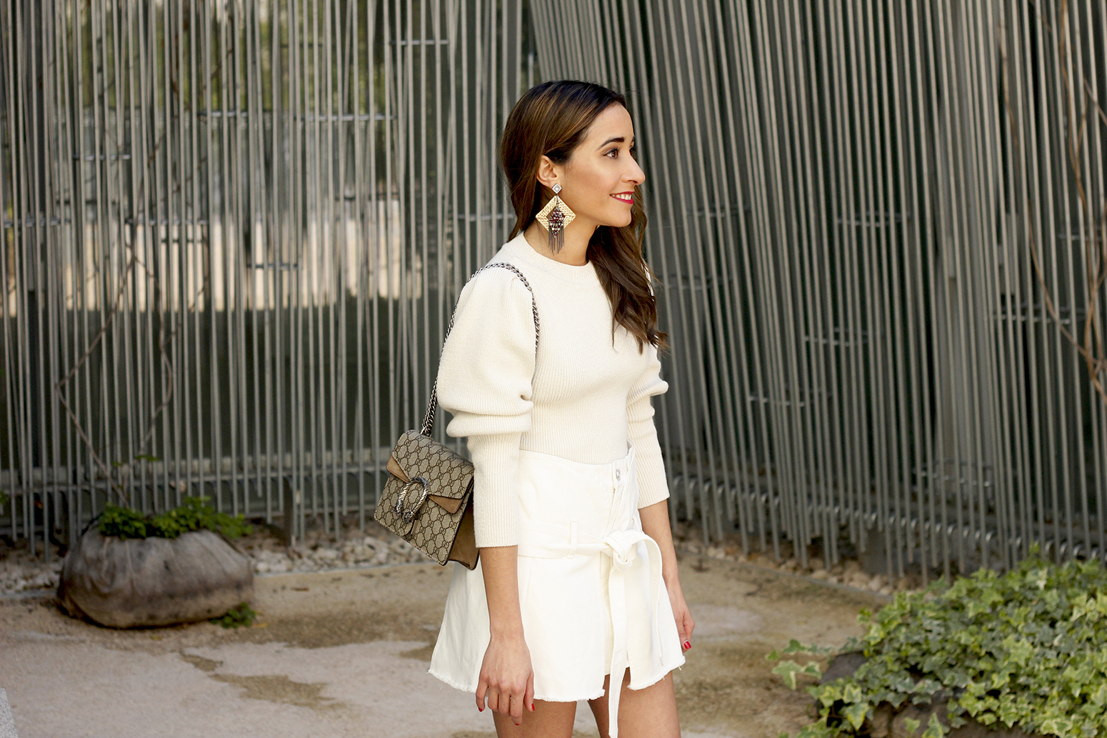 White skirt white sweater blue light mules uterqüe gucci bag céline sunnies spring outfit style outfit10
