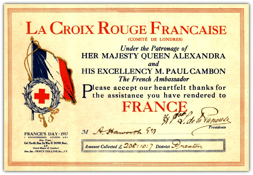 Certificate of appreciation presented to alfred howarth t flickr certificate of appreciation presented to alfred howarth town clerk of preston by the french red yelopaper Choice Image