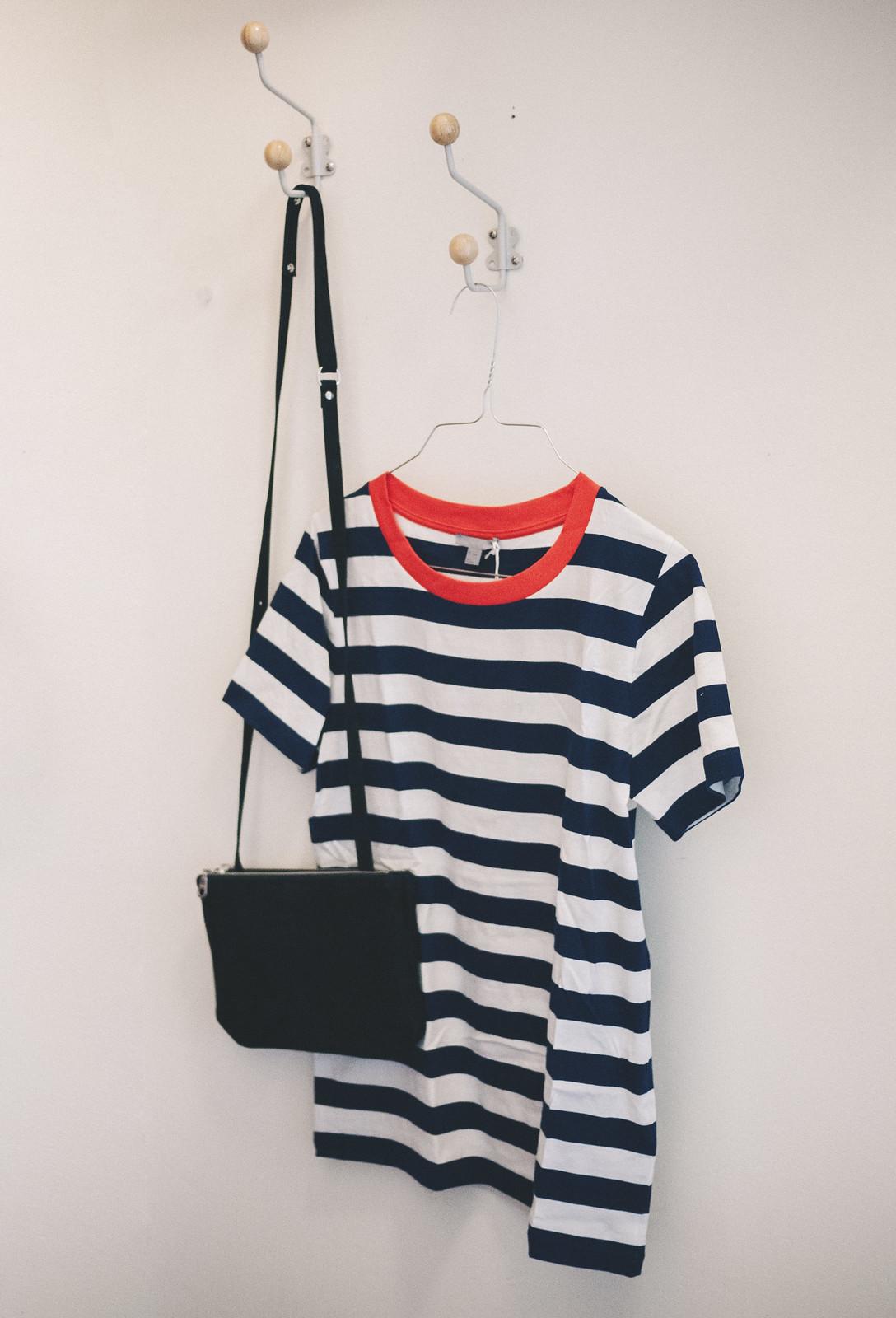 randig tröja + väska