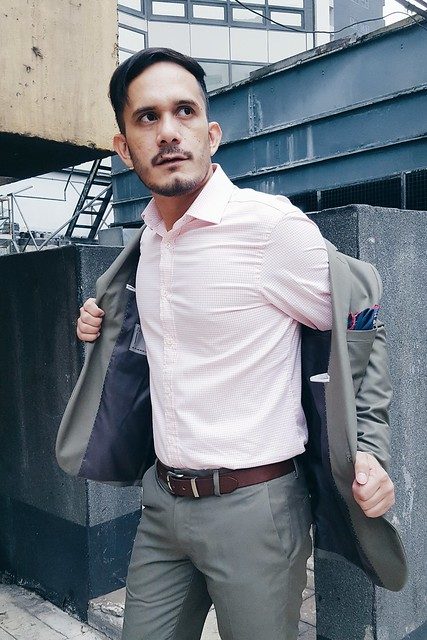 halfwhiteboy - pink shirt and army green suit 08