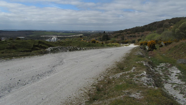 Whitehill Tor upper and lower split by a road to the clay works