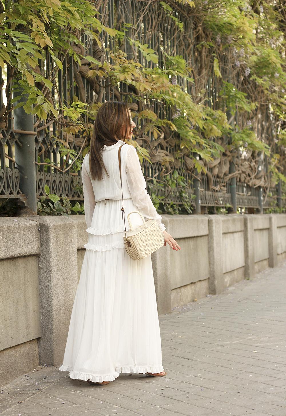 white maxi dress Subtle golden stripes wicker bag sandals céline sunnies spring outfit 02