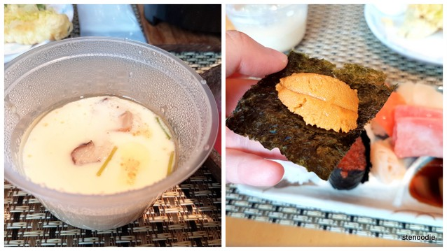 Steamed egg and uni on nori