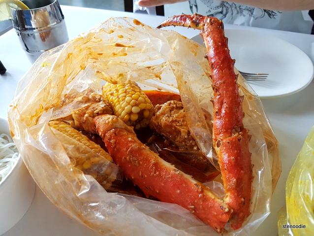 King Crab Legs in Cajun Sauce