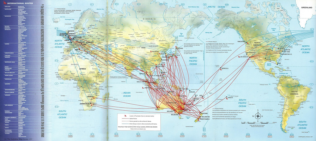Qantas Route Map Qantas international route map, 1997 | Qantas Airways intern… | Flickr Qantas Route Map