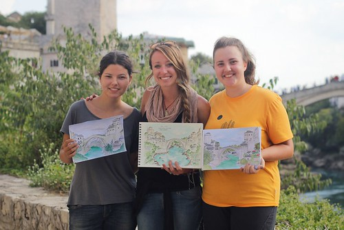 Sketching on-location in Bosnia, Mostar, helped me connect with many local families, including two high school students who were also passionate about art. Artist Candace Rose Rardon