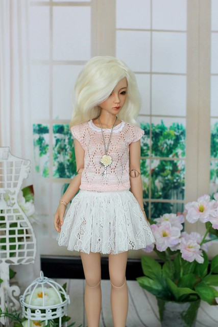 Top and lace skirt