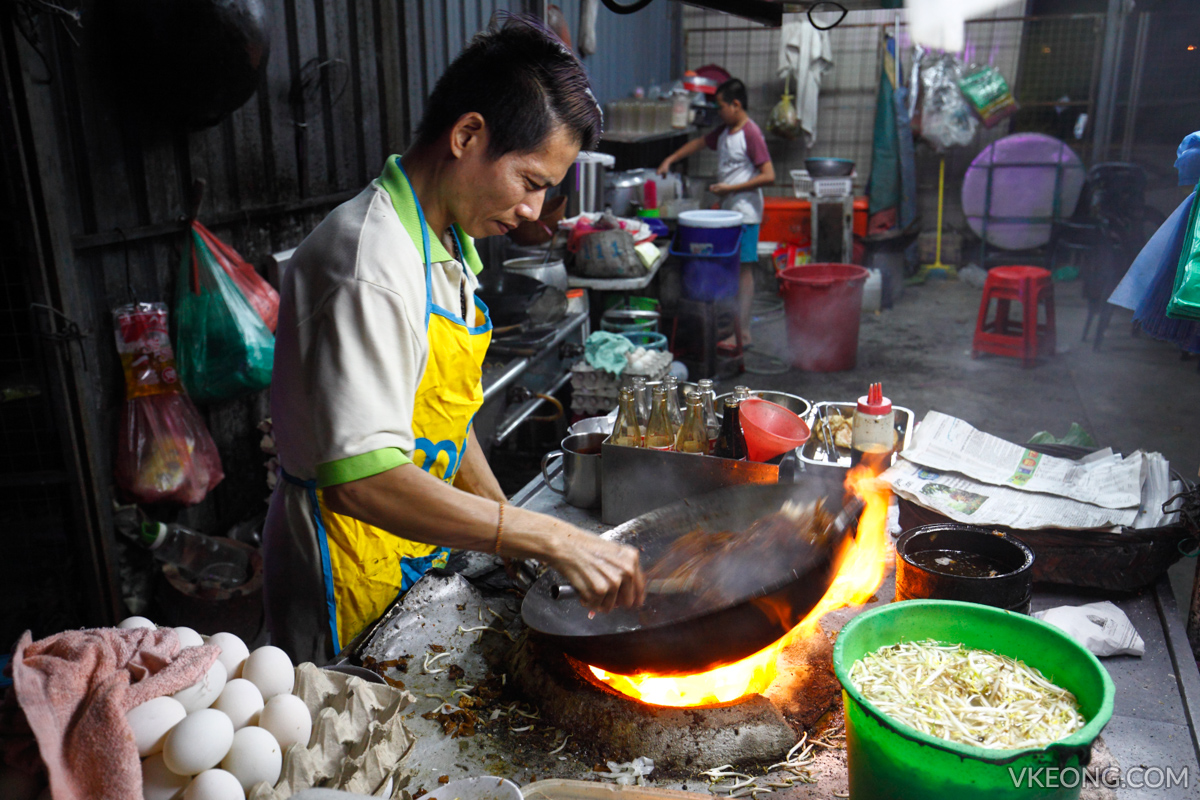 Char Koay Teow on charcoal flame