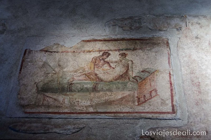 frescos eróticos en la visita a Pompeya