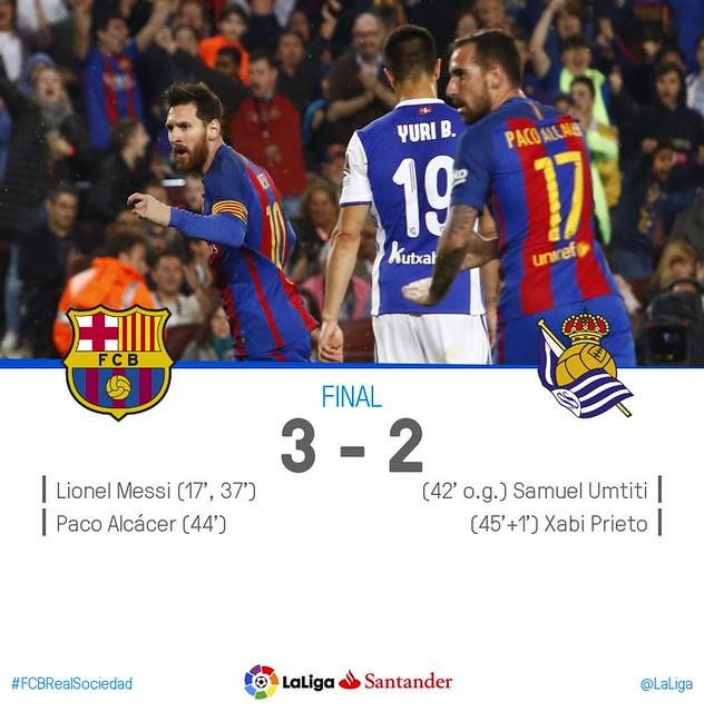 La Liga (Jornada 32): FC Barcelona 3 - Real Sociedad 2