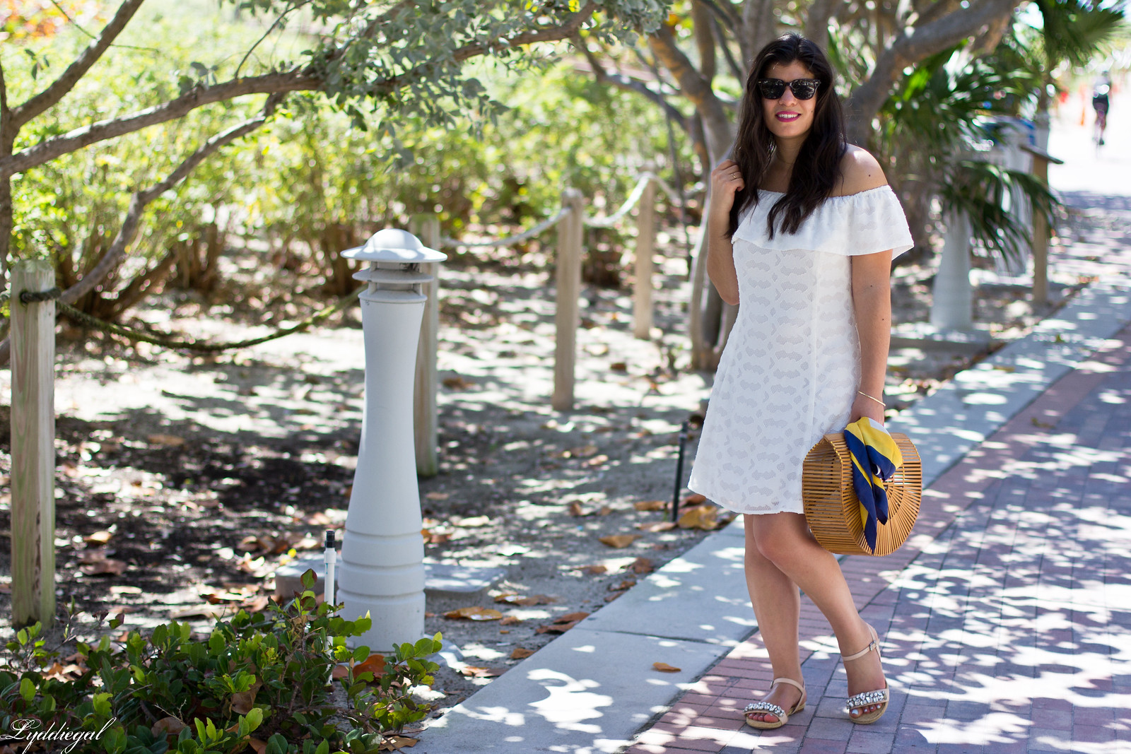 white off the shoulder dress, bamboo half moon purse, jeweled sandals-4.jpg
