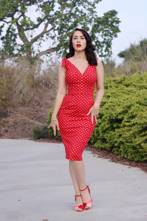 The Pretty Dress Company Ava Red Polka Dot Pencil Dress