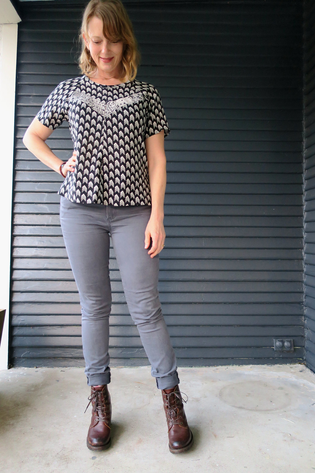 Black and White Clover Top