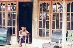 Old man and Teak Home, Java Indonesia