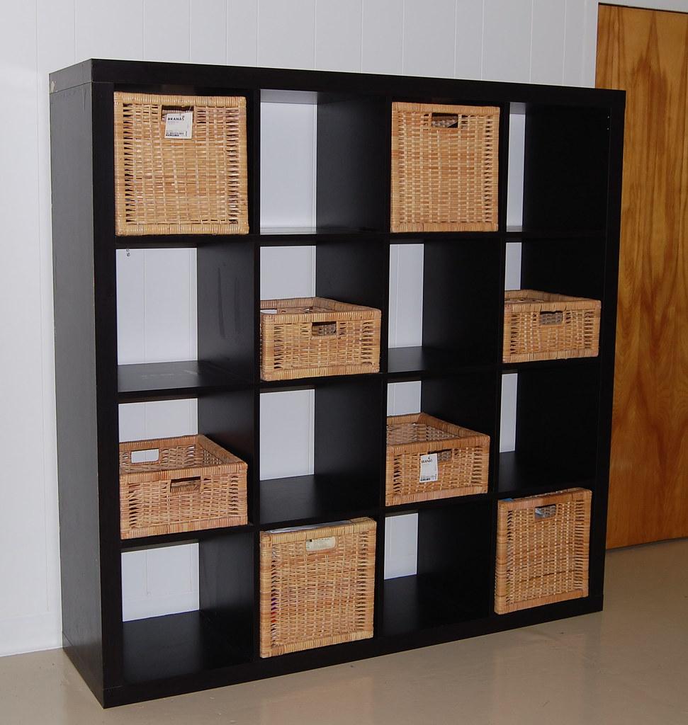 sold ikea expedit shelf baskets 100 expedit 4x4 shelv flickr. Black Bedroom Furniture Sets. Home Design Ideas