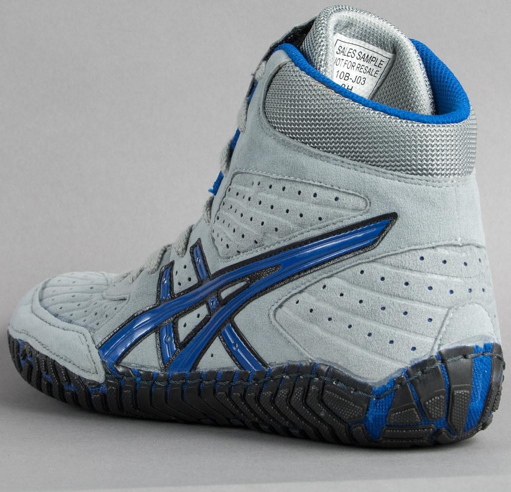 asics-aggressor-wrestling-shoes-grey-royal-blue-3 | Retail ...