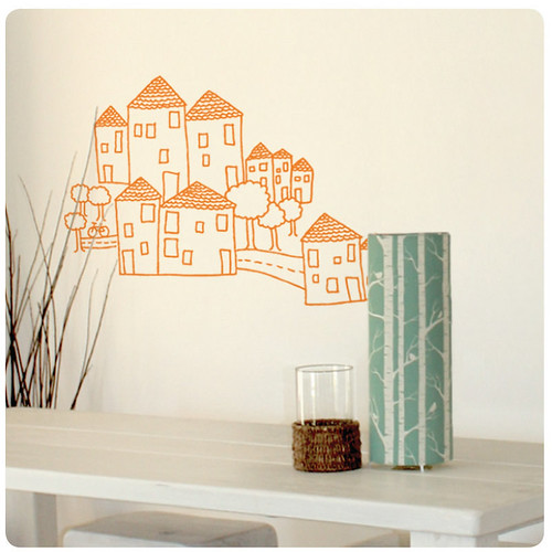 houses wall sticker/decal | by birds & trees