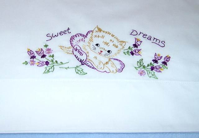 Sweet Dreams Little Kitten Hand Embroidered Pillowcase W Flickr