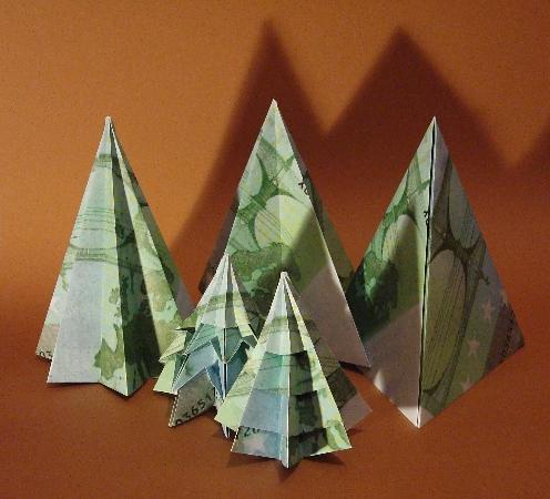 Origami Geld Tannen  Frohe Weihnachten. More under www.orim ...