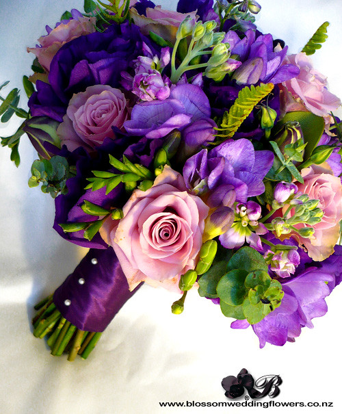 Purple And Pink Wedding Flowers: Bride's Bouquet Of Purple