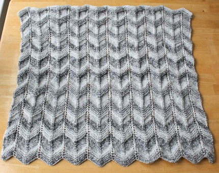 Ripple Knitting Pattern : handmade Gray striped baby blanket knit in a ripple patter? Flickr