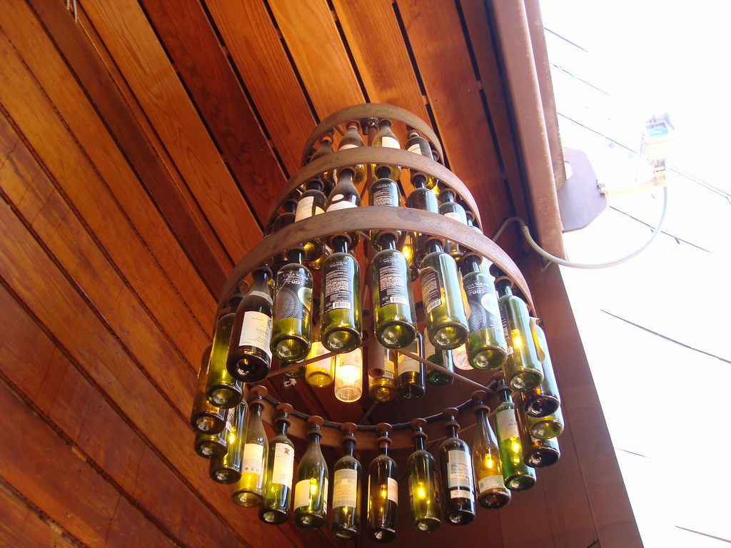 Wine bottle chandelier h c flickr for How to make a bottle chandelier