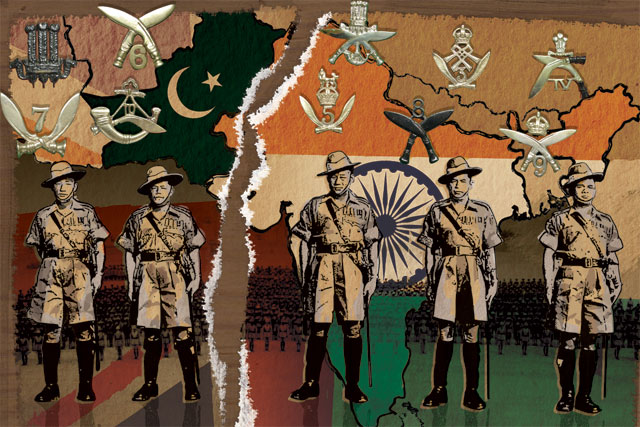 1947 Partition Of India Montage Showing Gurkha Officers