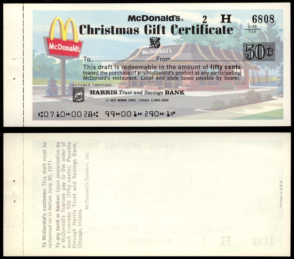Mcdonalds christmas gift certificate 1971 i believe thi flickr mcdonalds christmas gift certificate 1971 by jasonliebig 1betcityfo Image collections