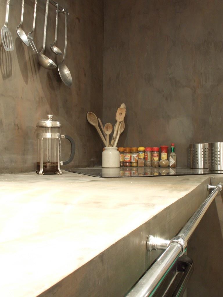 Plan De Travail Et Mur Cuisine Enduit Ciment Easycem Deco Flickr