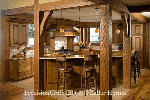 Custom kitchen in a timber frame home precisioncraft tim for Custom a frame homes
