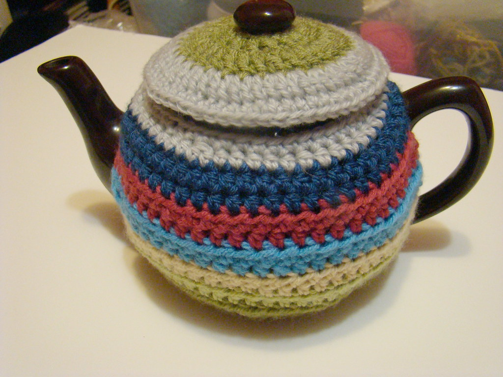 Free Crochet Pattern Small Tea Cozy : Day 24: scrap happy teacosy I wanted to come up with a ...