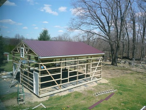 24x32x12 Diy Pole Barn The Roof Is Complete Flickr