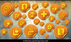Free Social Media Networking Icons - 154 Orange Grunge Stickers | by webtreats