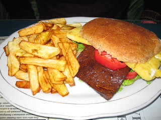 Tofu Burger and Fries | by veganbackpacker