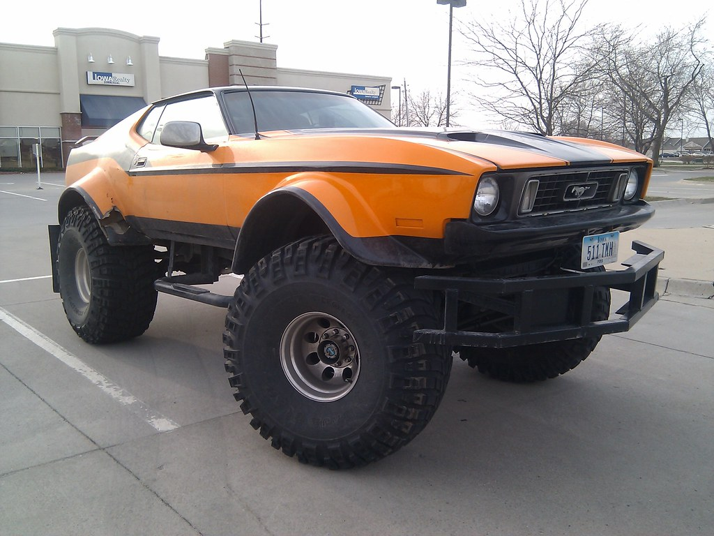 Orange monster truck ford mustang by broox