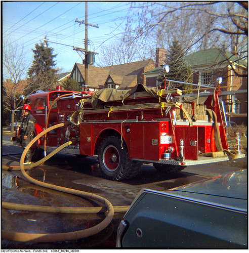 Etobicoke Fire Department American LaFrance pumper No. 6 at house fire, Prince Edward Drive | by Toronto History